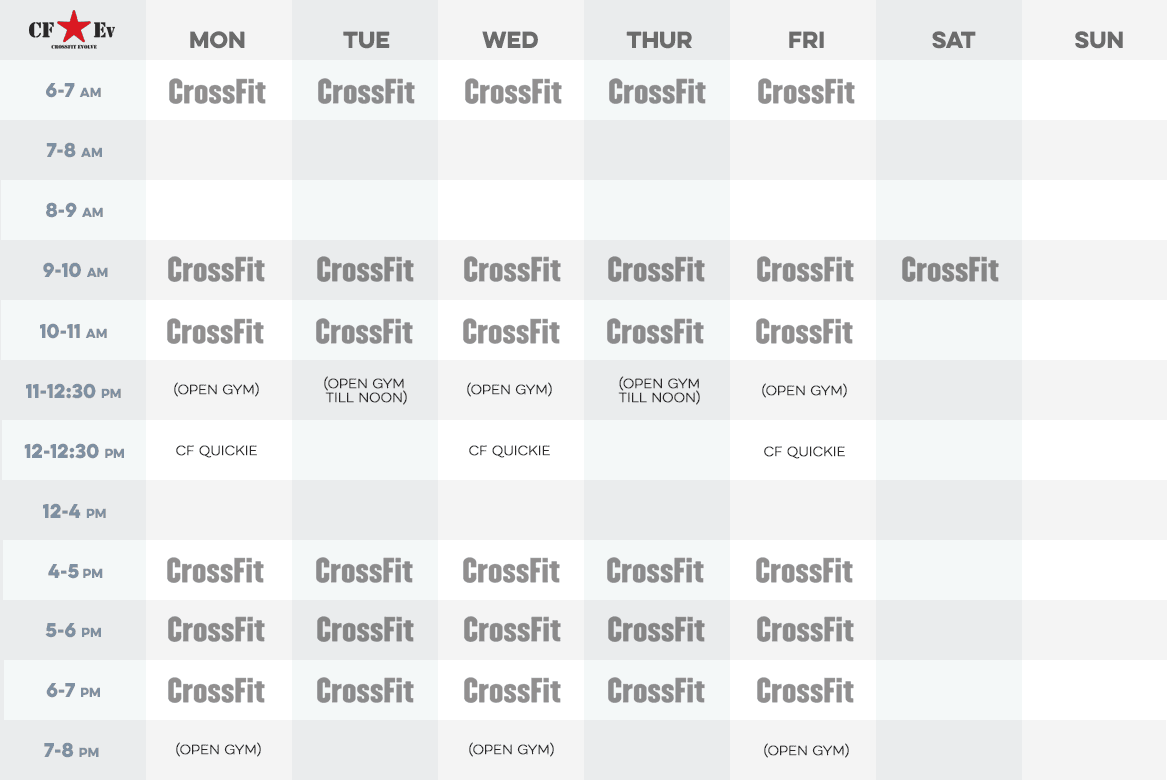 Crossfit Evolve Schedule May 2016