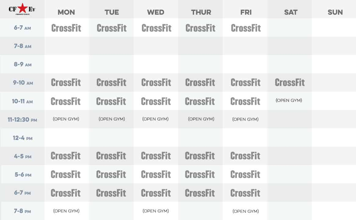 Crossfit Evolve Schedule